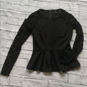Forever 21 Long Sleeve Lace Peplum Top